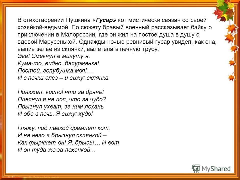В стихотворении Пушкина «Гусар» кот мистически связан со своей хозяйкой-ведьмой. По сюжету бравый военный рассказывает байку о приключении в Малороссии, где он жил на постое душа в душу с вдовой Марусенькой. Однажды ночью ревнивый гусар увидел, как о