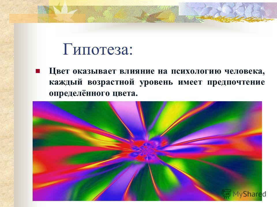 Актуальность: Цвет подсознательно влияет на поведение людей, поэтому современному человеку нужно знать, как и почему возникают те или иные реакции на цвет и уметь использовать их в своей жизни.
