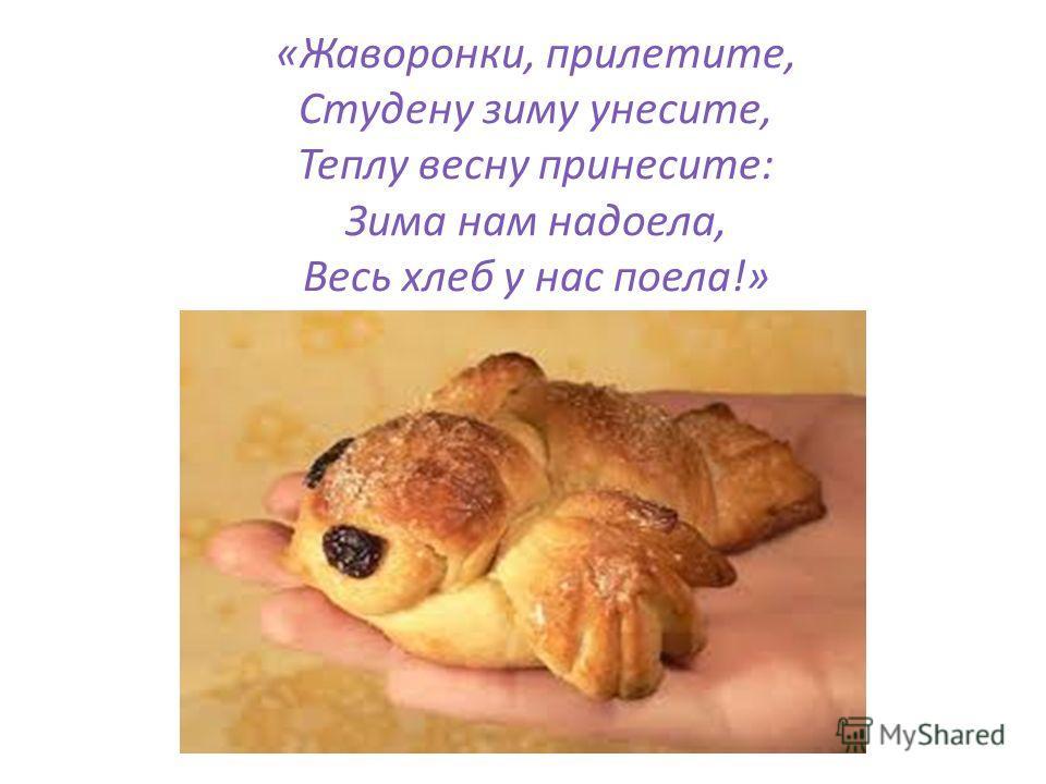«Жаворонки, прилетите, Студену зиму унесите, Теплу весну принесите: Зима нам надоела, Весь хлеб у нас поела!»