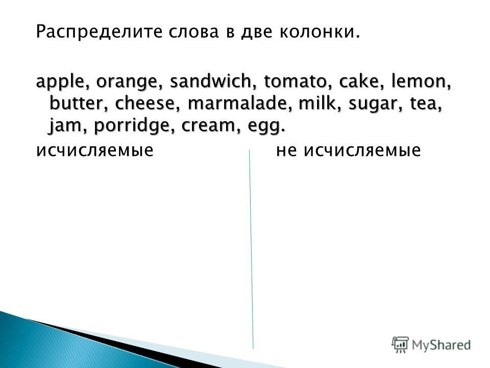 Распределите слова в две колонки. apple, orange, sandwich, tomato, cake, lemon, butter, cheese, marmalade, milk, sugar, tea, jam, porridge, cream, egg. исчисляемые не исчисляемые