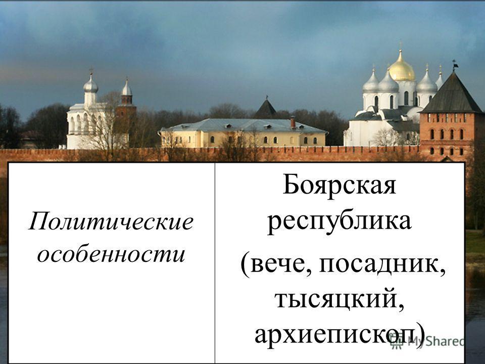 Политические особенности Боярская республика (вече, посадник, тысяцкий, архиепископ)