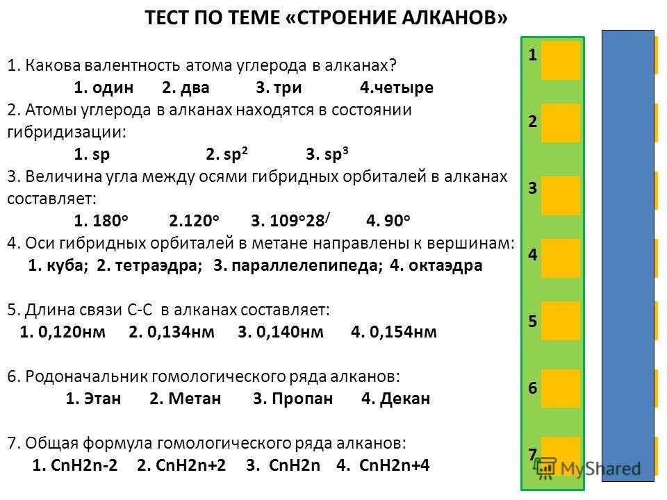 ТЕСТ ПО ТЕМЕ «СТРОЕНИЕ АЛКАНОВ» 1. Какова валентность атома углерода в алканах? 1. один 2. два 3. три 4.четыре 2. Атомы углерода в алканах находятся в состоянии гибридизации: 1. sp 2. sp 2 3. sp 3 3. Величина угла между осями гибридных орбиталей в ал