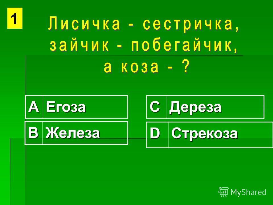 АЕгозаСДереза ВЖелеза DСтрекоза 1