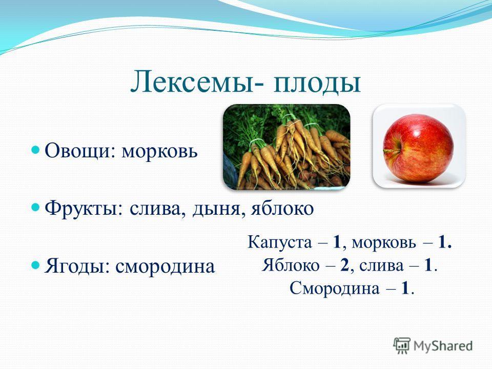 Лексемы- плоды Овощи: морковь Фрукты: слива, дыня, яблоко Ягоды: смородина Капуста – 1, морковь – 1. Яблоко – 2, слива – 1. Смородина – 1.