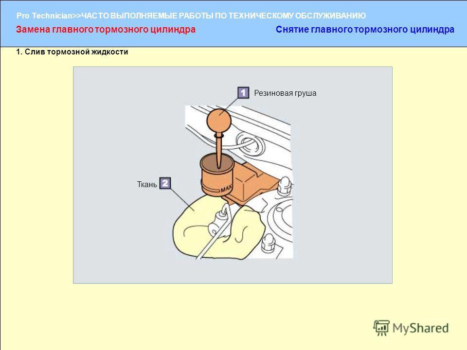(1/2) Pro Technician>>ЧАСТО ВЫПОЛНЯЕМЫЕ РАБОТЫ ПО ТЕХНИЧЕСКОМУ ОБСЛУЖИВАНИЮ 1. Слив тормозной жидкости Резиновая груша Ткань Замена главного тормозного цилиндраСнятие главного тормозного цилиндра