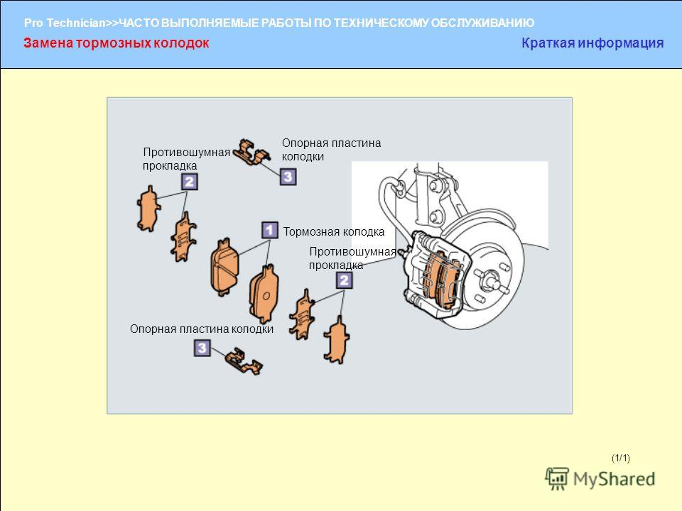 (1/2) Pro Technician>>ЧАСТО ВЫПОЛНЯЕМЫЕ РАБОТЫ ПО ТЕХНИЧЕСКОМУ ОБСЛУЖИВАНИЮ (1/1) Замена тормозных колодокКраткая информация Тормозная колодка Противошумная прокладка Опорная пластина колодки