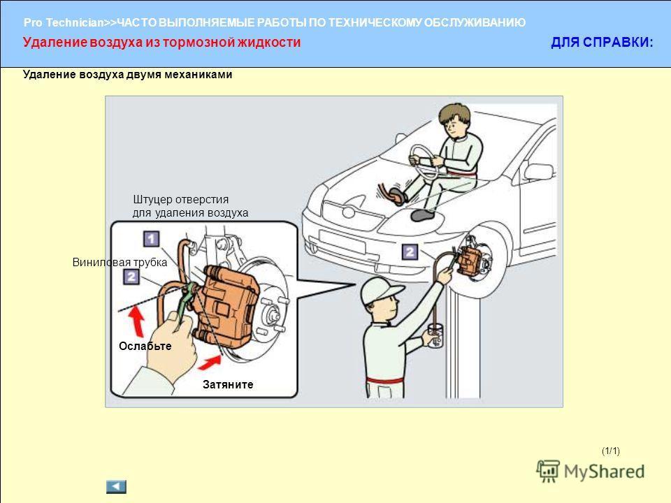 (1/2) Pro Technician>>ЧАСТО ВЫПОЛНЯЕМЫЕ РАБОТЫ ПО ТЕХНИЧЕСКОМУ ОБСЛУЖИВАНИЮ (1/1) Удаление воздуха двумя механиками Удаление воздуха из тормозной жидкости ДЛЯ СПРАВКИ: Ослабьте Затяните Штуцер отверстия для удаления воздуха Виниловая трубка