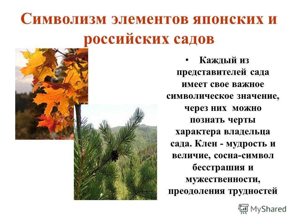 Символизм элементов японских и российских садов Каждый из представителей сада имеет свое важное символическое значение, через них можно познать черты характера владельца сада. Клен - мудрость и величие, сосна-символ бесстрашия и мужественности, преод