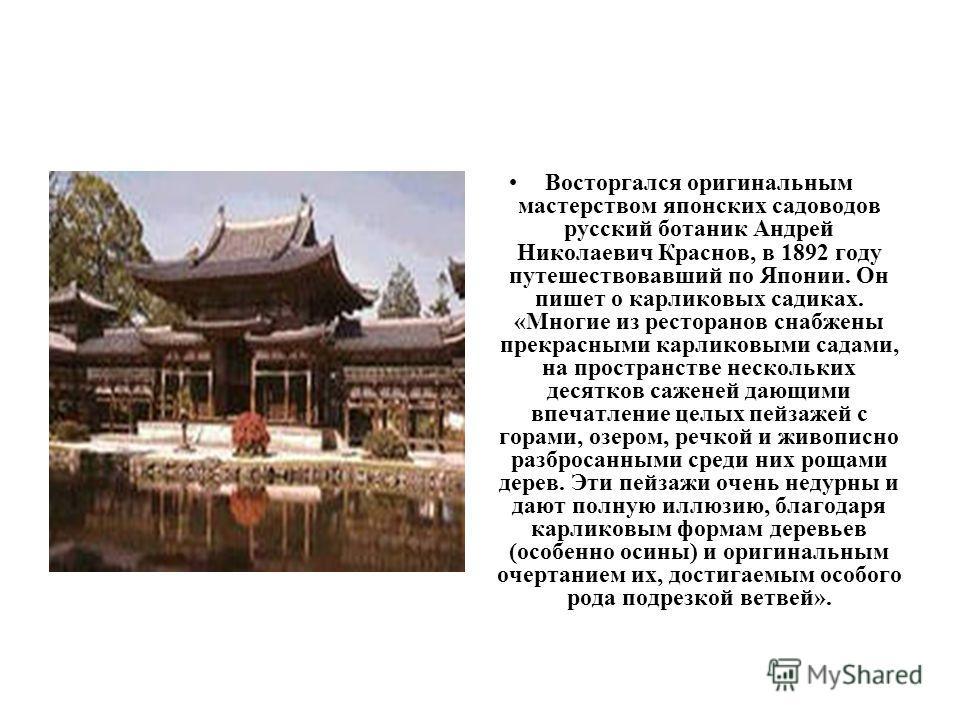 Восторгался оригинальным мастерством японских садоводов русский ботаник Андрей Николаевич Краснов, в 1892 году путешествовавший по Японии. Он пишет о карликовых садиках. «Многие из ресторанов снабжены прекрасными карликовыми садами, на пространстве н