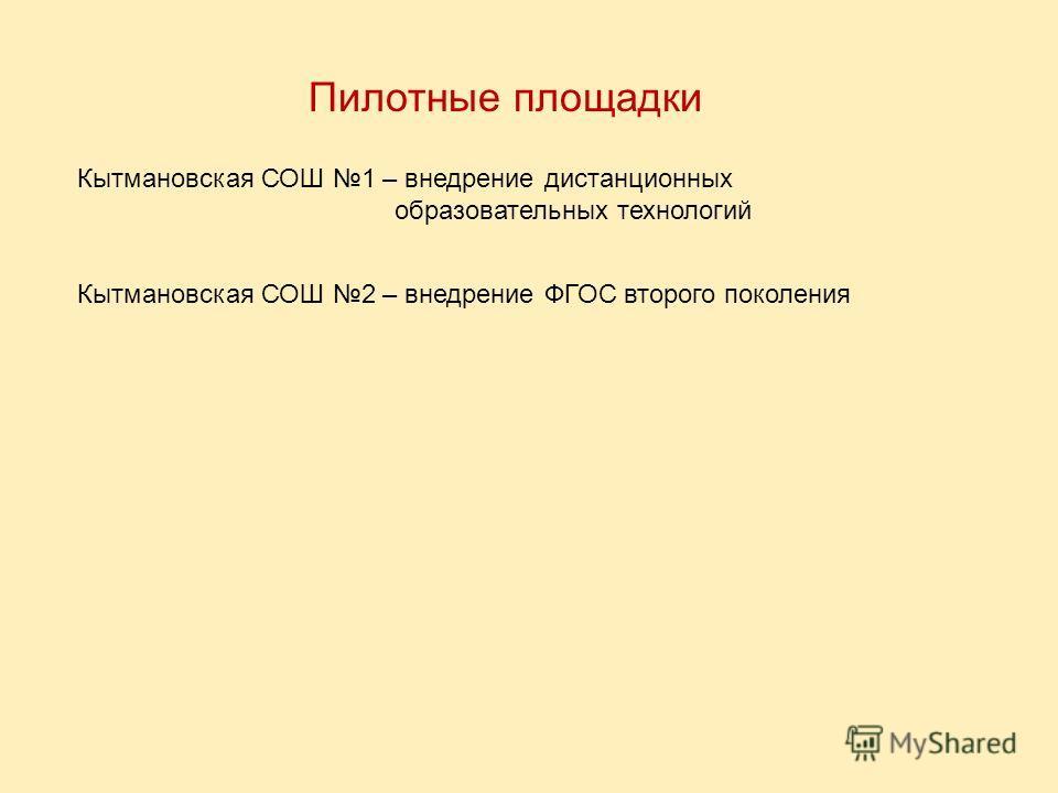 Пилотные площадки Кытмановская СОШ 1 – внедрение дистанционных образовательных технологий Кытмановская СОШ 2 – внедрение ФГОС второго поколения