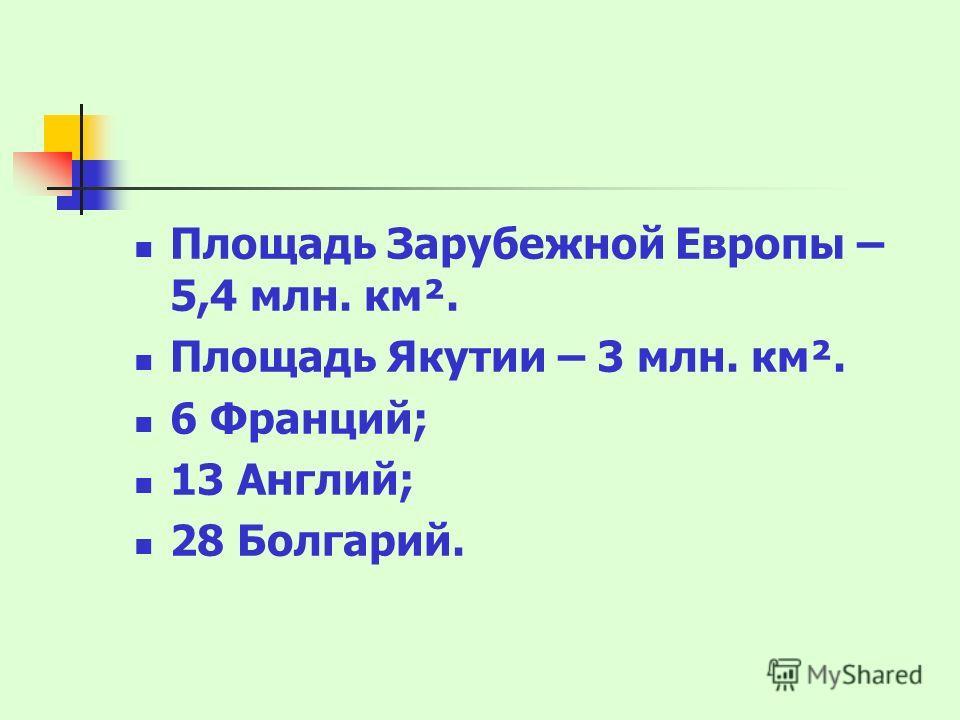 Площадь Зарубежной Европы – 5,4 млн. км². Площадь Якутии – 3 млн. км². 6 Франций; 13 Англий; 28 Болгарий.