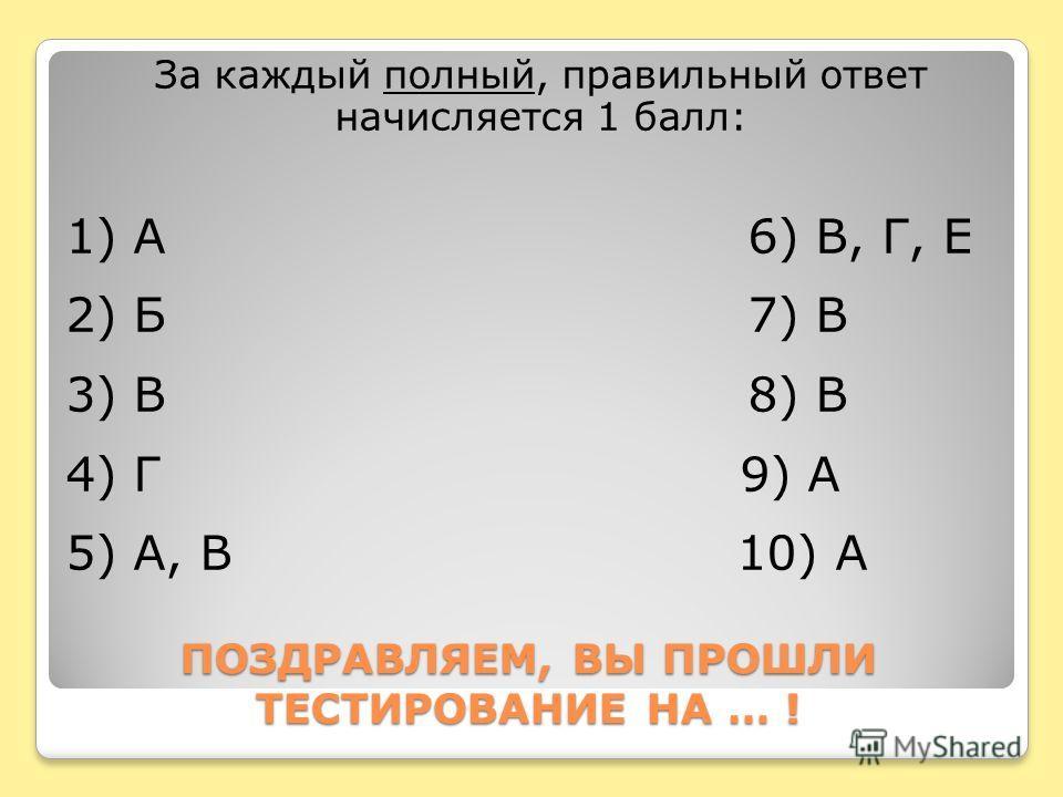 ПОЗДРАВЛЯЕМ, ВЫ ПРОШЛИ ТЕСТИРОВАНИЕ НА … ! За каждый полный, правильный ответ начисляется 1 балл: 1) А 6) В, Г, Е 2) Б 7) В 3) В 8) В 4) Г 9) А 5) А, В 10) А