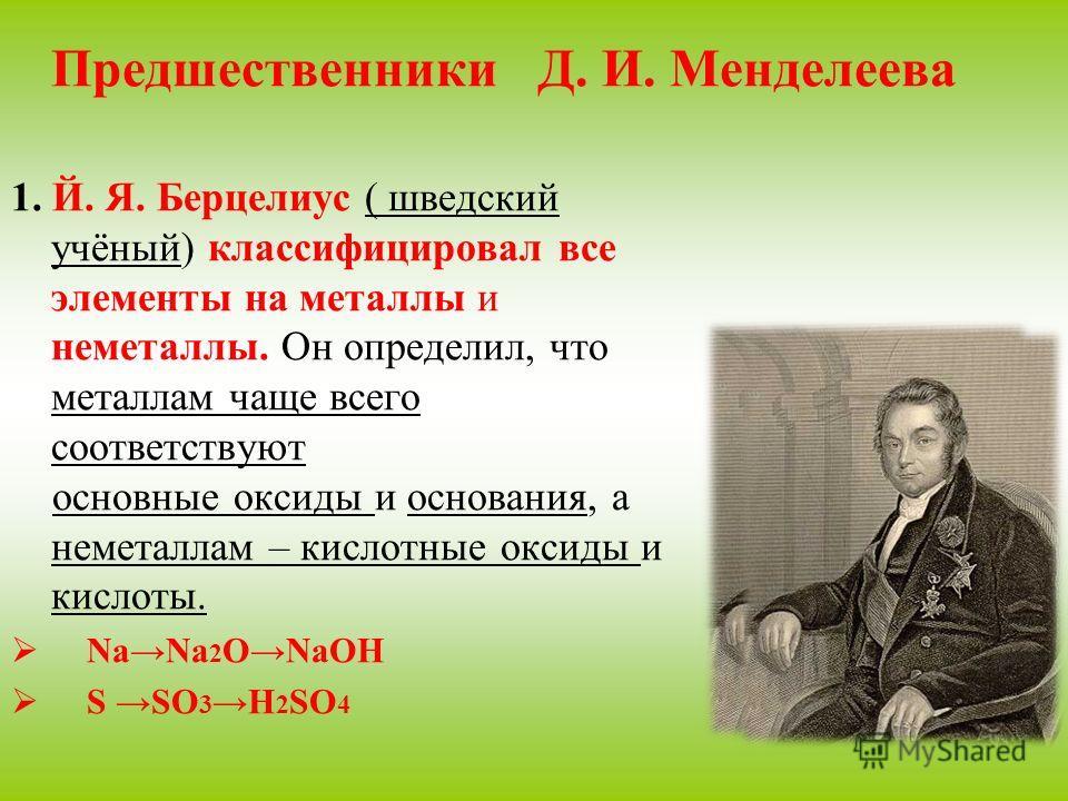 Предшественники Д. И. Менделеева 1. Й. Я. Берцелиус ( шведский учёный) классифицировал все элементы на металлы и неметаллы. Он определил, что металлам чаще всего соответствуют основные оксиды и основания, а неметаллам – кислотные оксиды и кислоты. Na