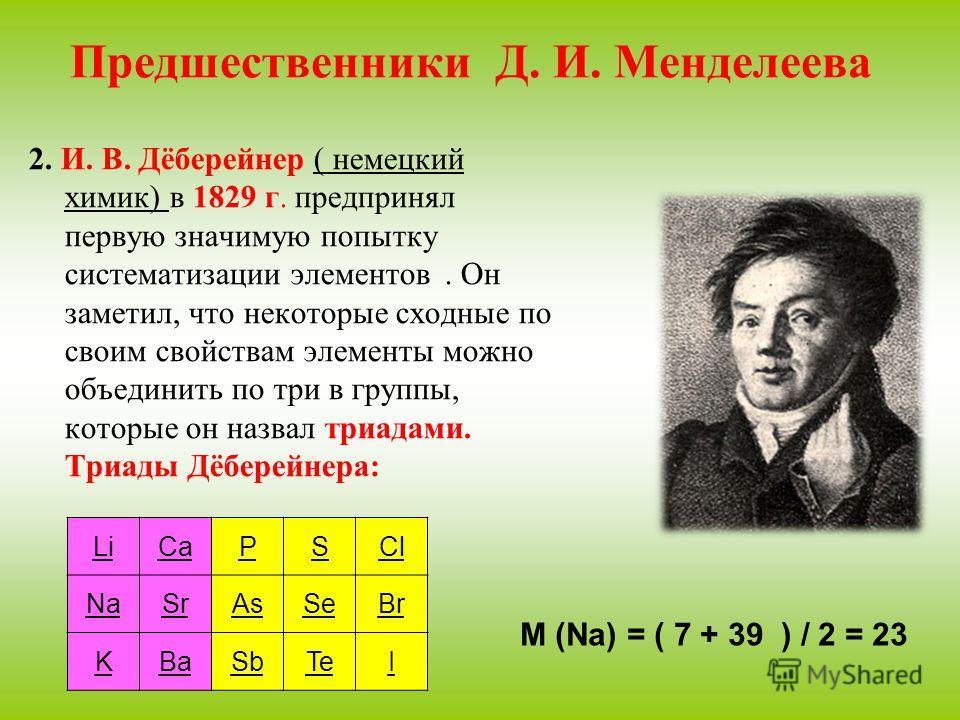 Предшественники Д. И. Менделеева 2. И. В. Дёберейнер ( немецкий химик) в 1829 г. предпринял первую значимую попытку систематизации элементов. Он заметил, что некоторые сходные по своим свойствам элементы можно объединить по три в группы, которые он н