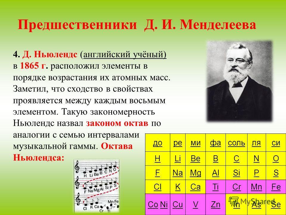 Предшественники Д. И. Менделеева 4. Д. Ньюлендс (английский учёный) в 1865 г. расположил элементы в порядке возрастания их атомных масс. Заметил, что сходство в свойствах проявляется между каждым восьмым элементом. Такую закономерность Ньюлендс назва