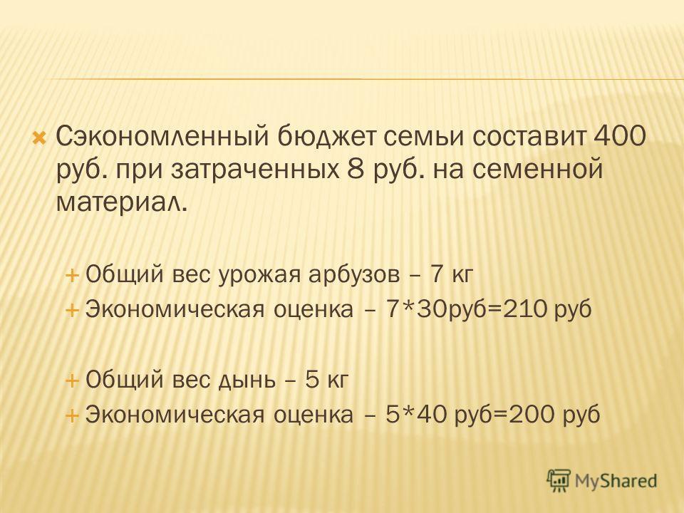 Сэкономленный бюджет семьи составит 400 руб. при затраченных 8 руб. на семенной материал. Общий вес урожая арбузов – 7 кг Экономическая оценка – 7*30руб=210 руб Общий вес дынь – 5 кг Экономическая оценка – 5*40 руб=200 руб