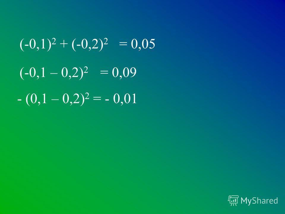 (-0,1 – 0,2) 2 - (0,1 – 0,2) 2 (-0,1) 2 + (-0,2) 2 = 0,05 = 0,09 = - 0,01