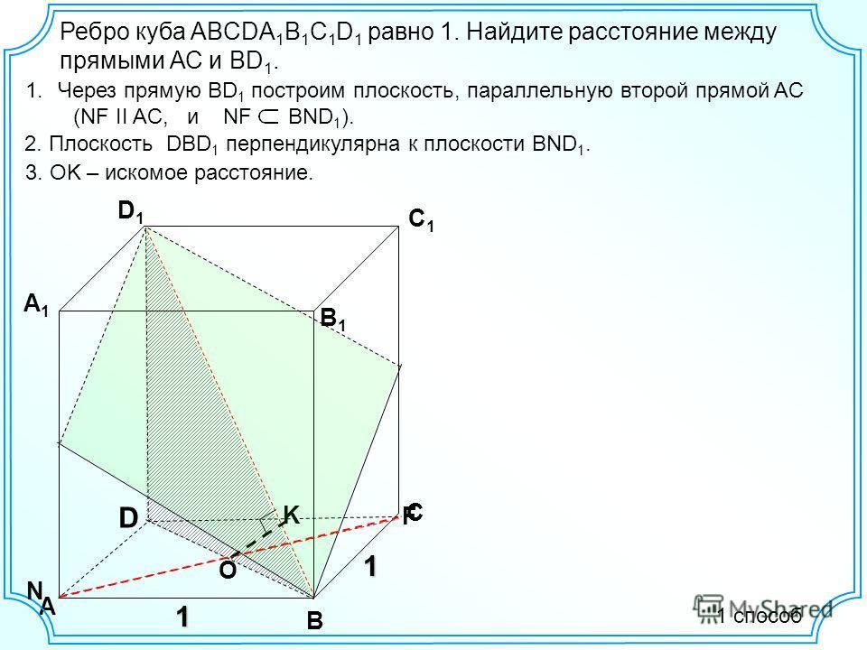 D А В С D1D1 С1С1 В1В1 А1А1 1 Ребро куба ABCDA 1 B 1 C 1 D 1 равно 1. Найдите расстояние между прямыми АС и ВD 1. 1.Через прямую BD 1 построим плоскость, параллельную второй прямой AC (NF II AC, и NF BND 1 ). 2. Плоскость DBD 1 перпендикулярна к плос