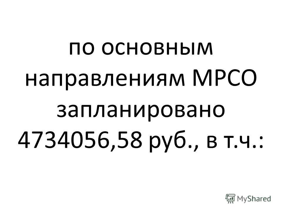 по основным направлениям МРСО запланировано 4734056,58 руб., в т.ч.: