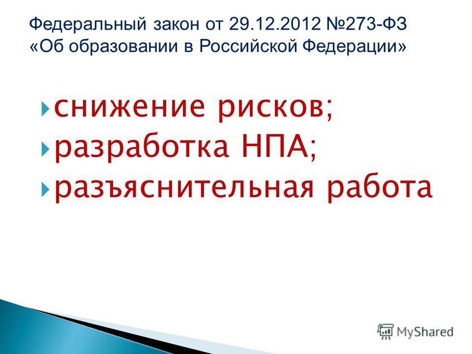 снижение рисков; разработка НПА; разъяснительная работа Федеральный закон от 29.12.2012 273-ФЗ «Об образовании в Российской Федерации»
