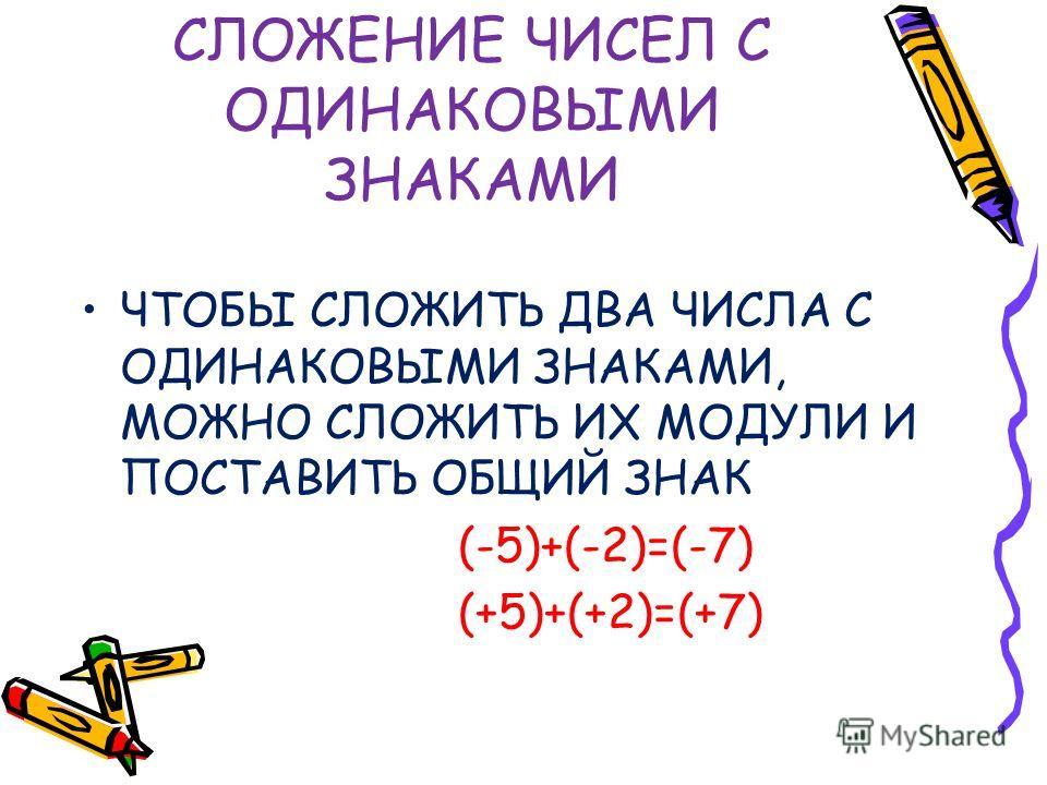 СЛОЖЕНИЕ ЧИСЕЛ С ОДИНАКОВЫМИ ЗНАКАМИ ЧТОБЫ СЛОЖИТЬ ДВА ЧИСЛА С ОДИНАКОВЫМИ ЗНАКАМИ, МОЖНО СЛОЖИТЬ ИХ МОДУЛИ И ПОСТАВИТЬ ОБЩИЙ ЗНАК (-5)+(-2)=(-7) (+5)+(+2)=(+7)