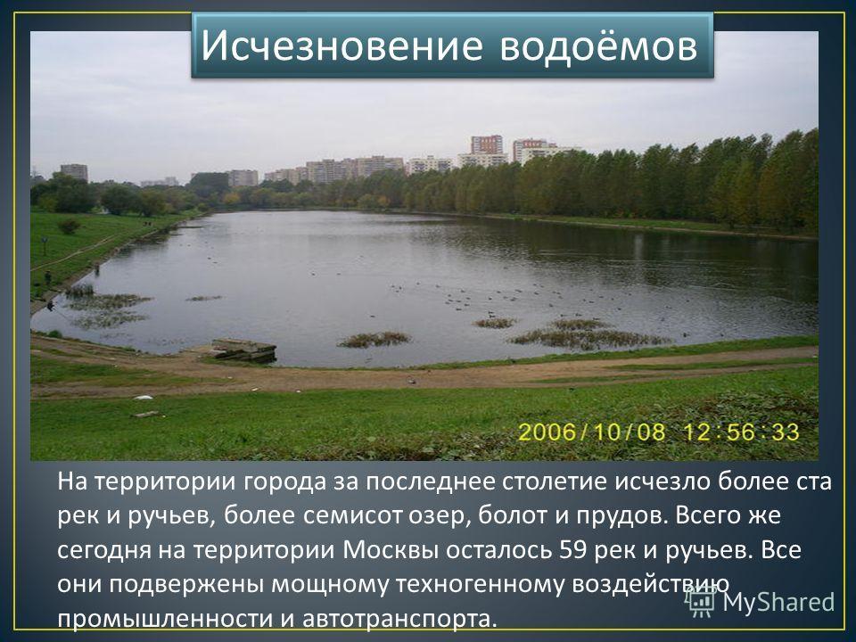 На территории города за последнее столетие исчезло более ста рек и ручьев, более семисот озер, болот и прудов. Всего же сегодня на территории Москвы осталось 59 рек и ручьев. Все они подвержены мощному техногенному воздействию промышленности и автотр