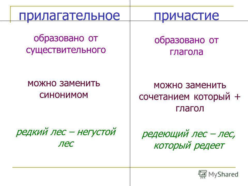 прилагательноепричастие образовано от существительного образовано от глагола можно заменить сочетанием который + глагол редеющий лес – лес, который редеет можно заменить синонимом редкий лес – негустой лес