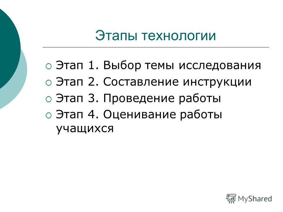 Этапы технологии Этап 1. Выбор темы исследования Этап 2. Составление инструкции Этап 3. Проведение работы Этап 4. Оценивание работы учащихся