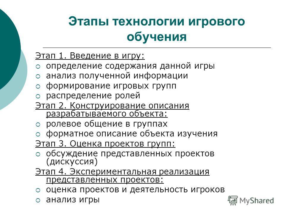 Этапы технологии игрового обучения Этап 1. Введение в игру: определение содержания данной игры анализ полученной информации формирование игровых групп распределение ролей Этап 2. Конструирование описания разрабатываемого объекта: ролевое общение в гр