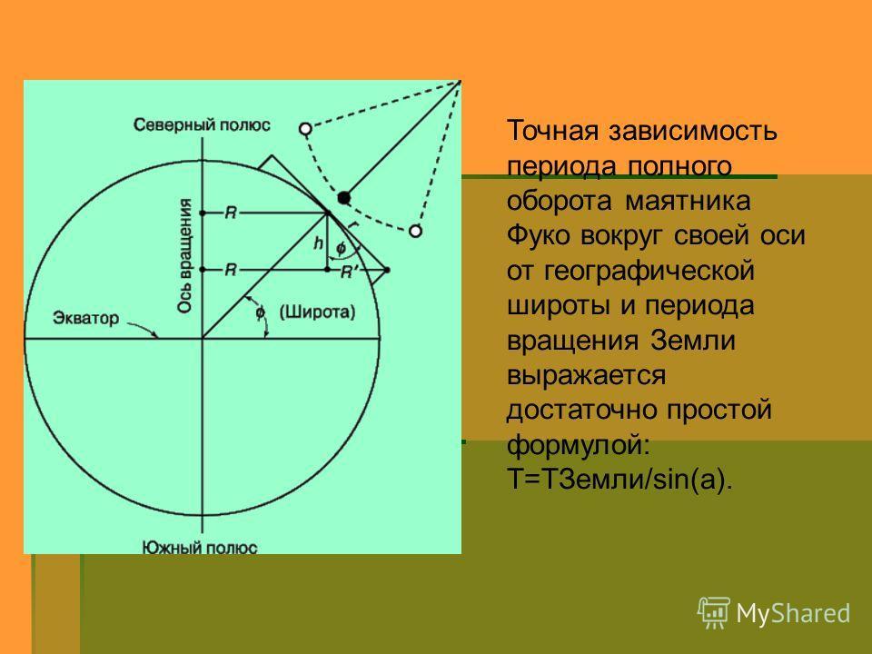 Точная зависимость периода полного оборота маятника Фуко вокруг своей оси от географической широты и периода вращения Земли выражается достаточно простой формулой: T=TЗемли/sin(a).