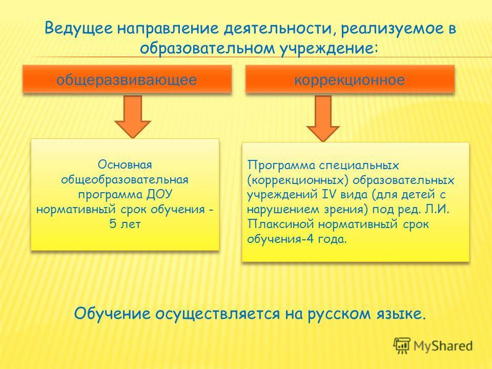 Ведущее направление деятельности, реализуемое в образовательном учреждение: Обучение осуществляется на русском языке. Основная общеобразовательная программа ДОУ нормативный срок обучения - 5 лет Программа специальных (коррекционных) образовательных у