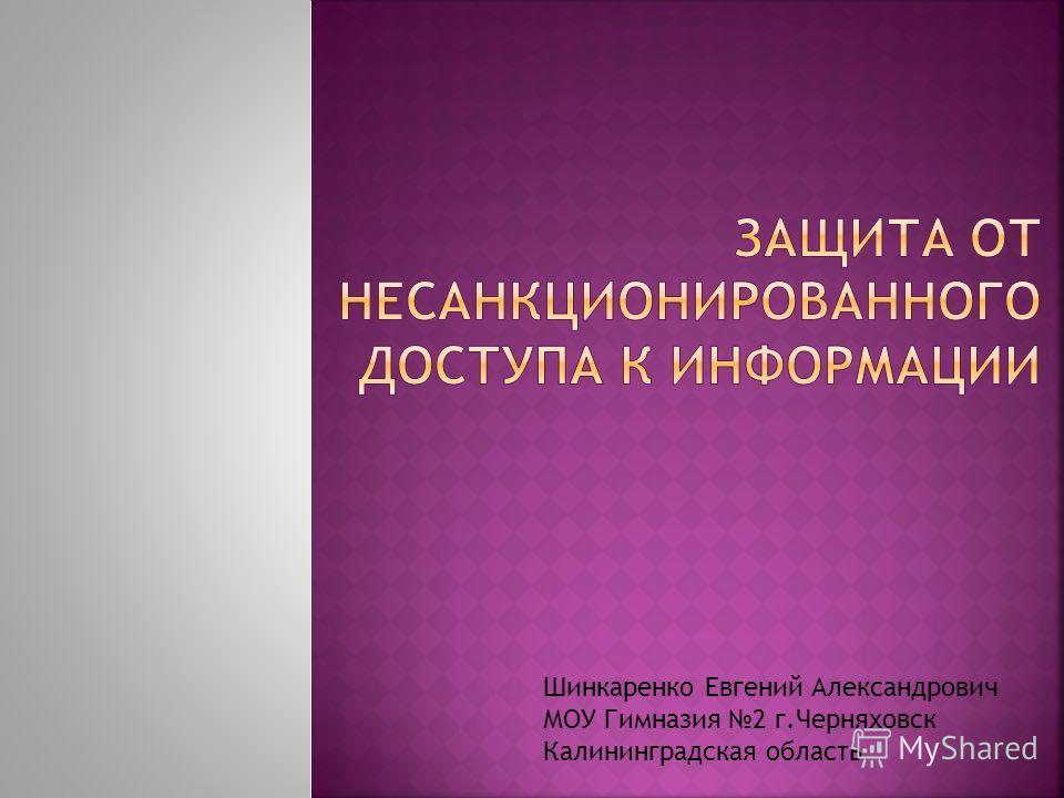 Шинкаренко Евгений Александрович МОУ Гимназия 2 г.Черняховск Калининградская область