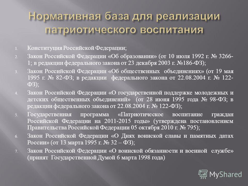 1. Конституция Российской Федерации ; 2. Закон Российской Федерации « Об образовании » ( от 10 июля 1992 г. 3266- 1; в редакции федерального закона от 23 декабря 2003 г. 186- ФЗ ); 3. Закон Российской Федерации « Об общественных объединениях » ( от 1