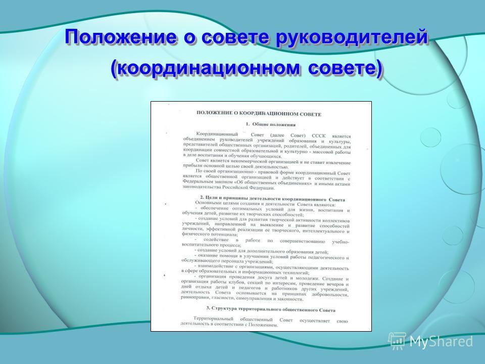 Положение о совете руководителей (координационном совете)