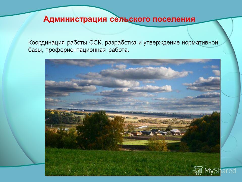 Администрация сельского поселения Координация работы ССК, разработка и утверждение нормативной базы, профориентационная работа.