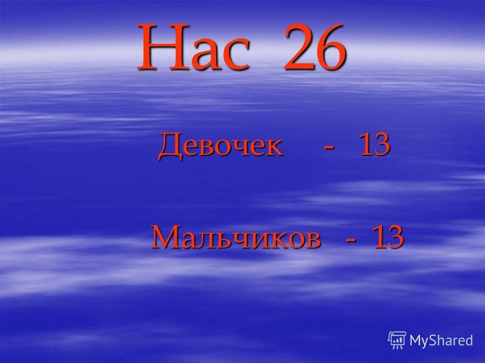 Нас 26 Девочек - 13 Девочек - 13 Мальчиков - 13 Мальчиков - 13