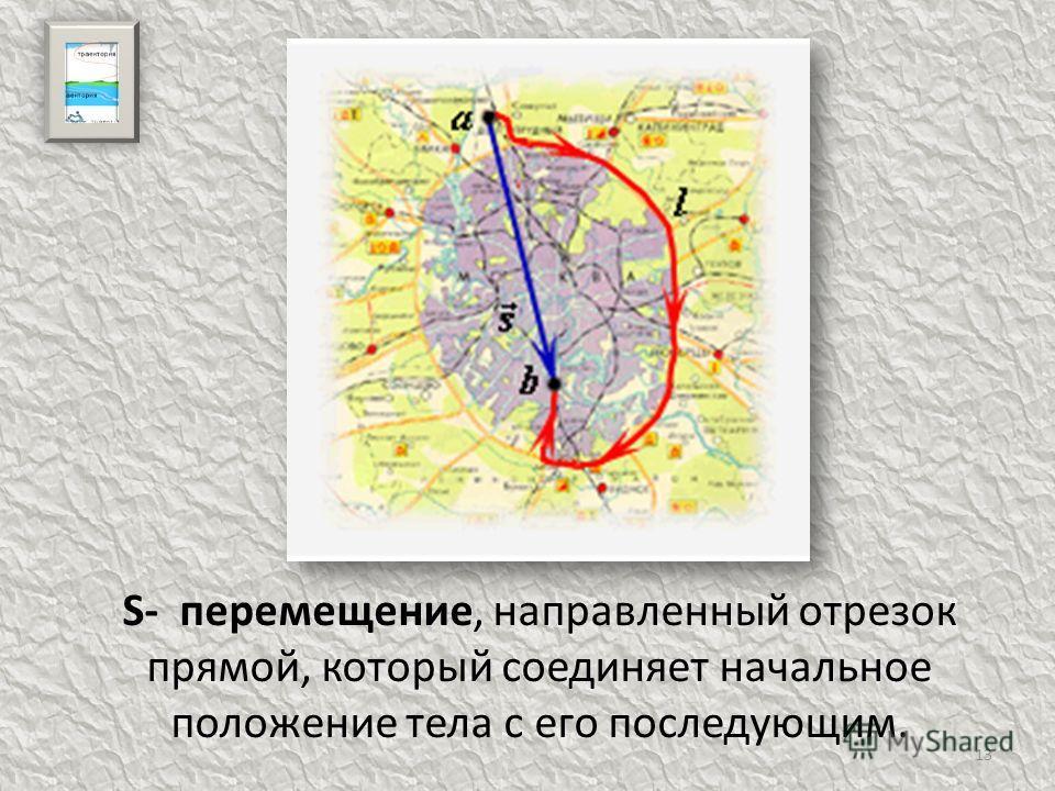 13 S- перемещение, направленный отрезок прямой, который соединяет начальное положение тела с его последующим.