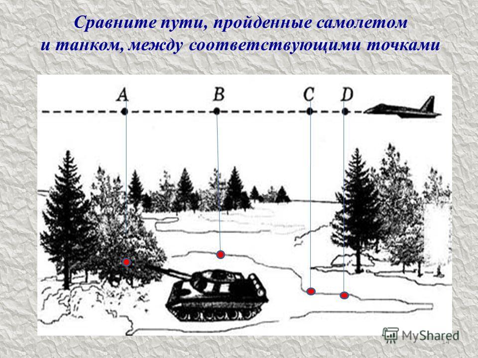 14 Сравните пути, пройденные самолетом и танком, между соответствующими точками