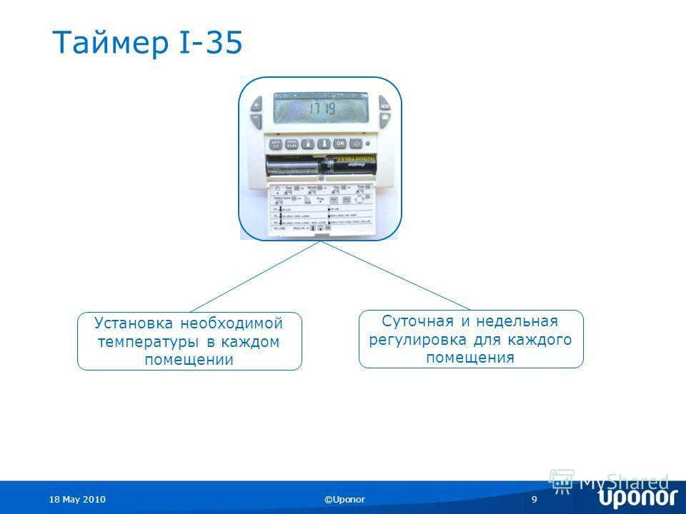 18 May 2010©Uponor9 Таймер I-35 Установка необходимой температуры в каждом помещении Суточная и недельная регулировка для каждого помещения