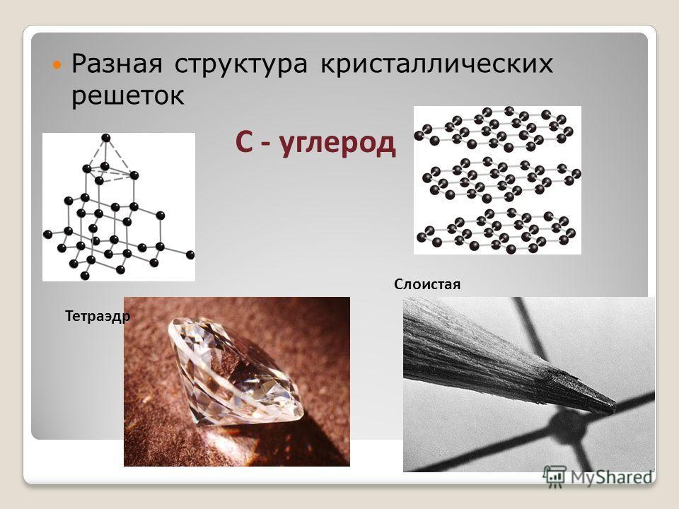 Разная структура кристаллических решеток С - углерод Тетраэдр Слоистая