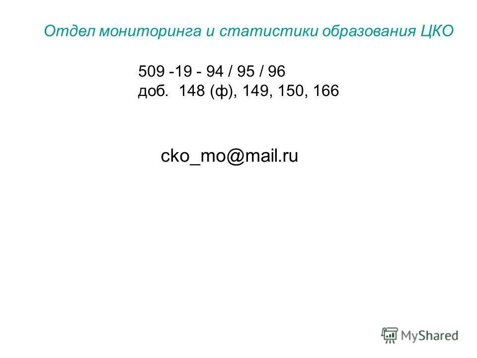509 -19 - 94 / 95 / 96 доб. 148 (ф), 149, 150, 166 Отдел мониторинга и статистики образования ЦКО cko_mo@mail.ru