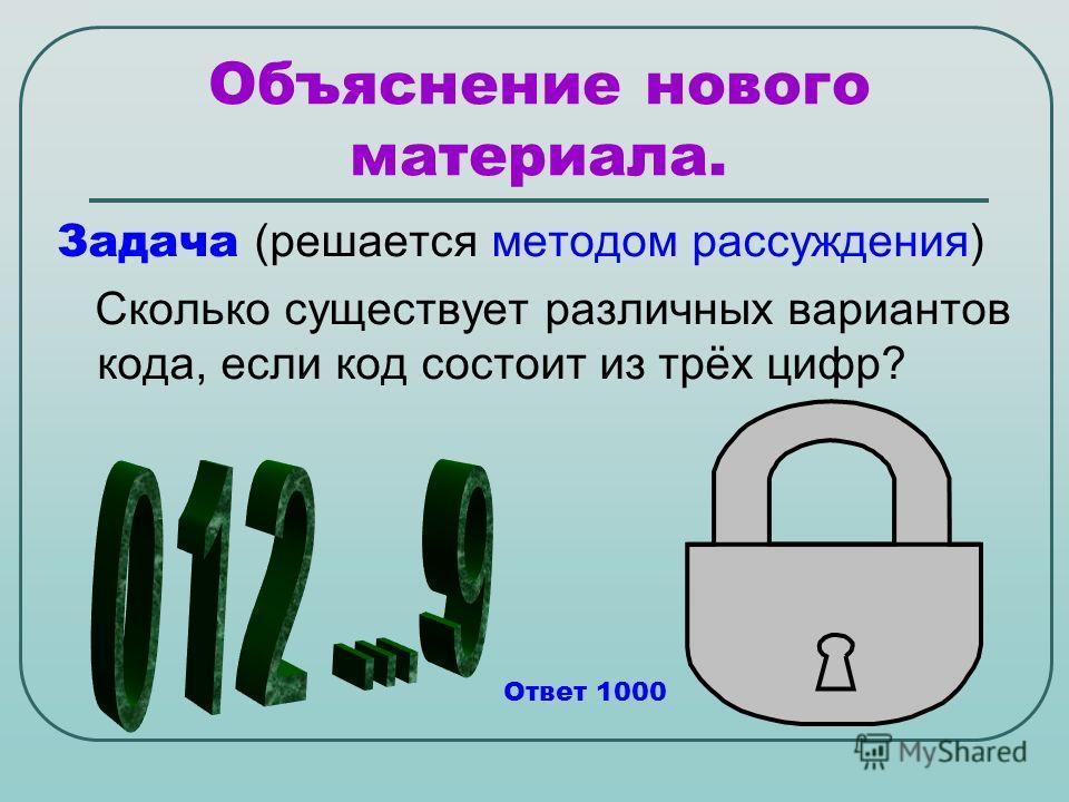 Объяснение нового материала. Задача (решается методом рассуждения) Сколько существует различных вариантов кода, если код состоит из трёх цифр? Ответ 1000