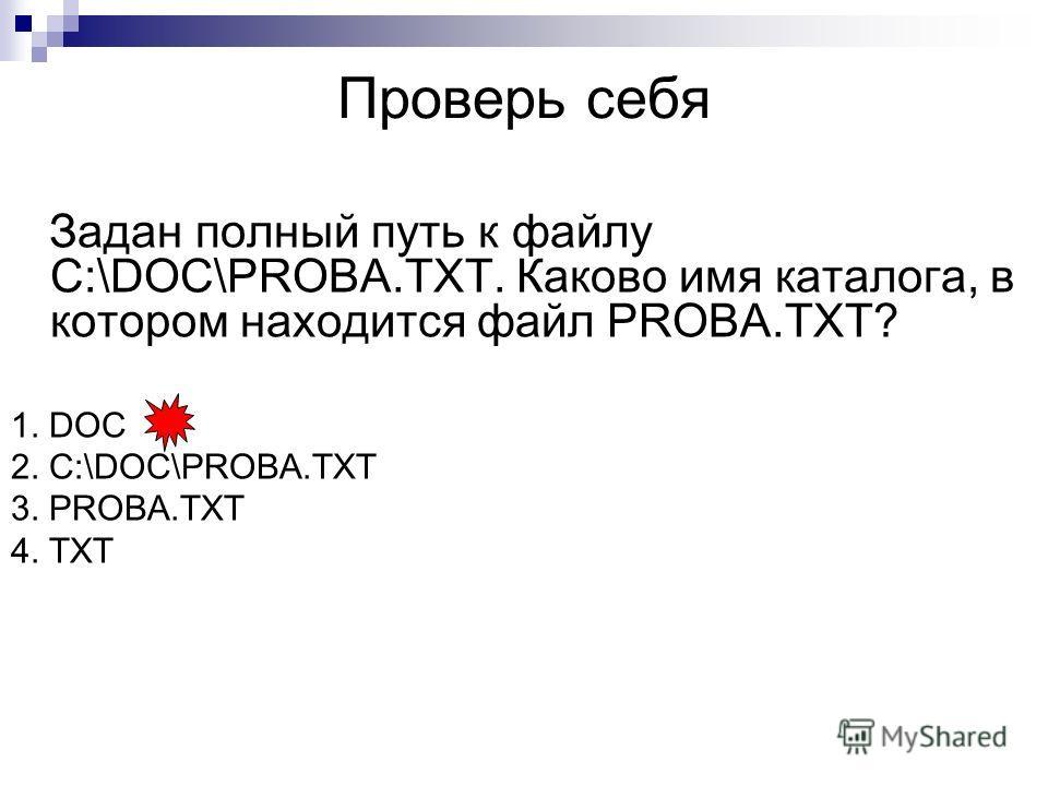 Проверь себя Задан полный путь к файлу C:\DOC\PROBA.TXT. Каково имя каталога, в котором находится файл PROBA.TXT? 1. DOC 2. C:\DOC\PROBA.TXT 3. PROBA.TXT 4. TXT