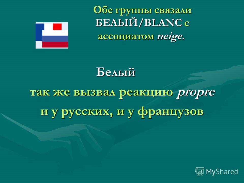 Обе группы связали БЕЛЫЙ/BLANC с ассоциатом neige. Обе группы связали БЕЛЫЙ/BLANC с ассоциатом neige. Белый Белый так же вызвал реакцию propre и у русских, и у французов