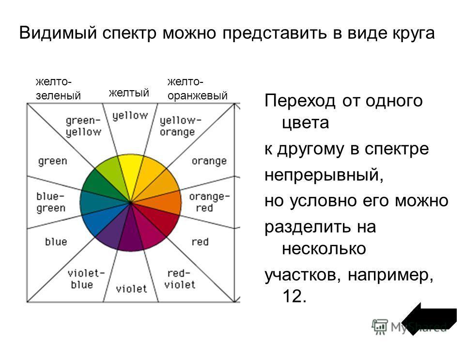 Видимый спектр можно представить в виде круга Переход от одного цвета к другому в спектре непрерывный, но условно его можно разделить на несколько участков, например, 12. желтый желто- оранжевый желто- зеленый