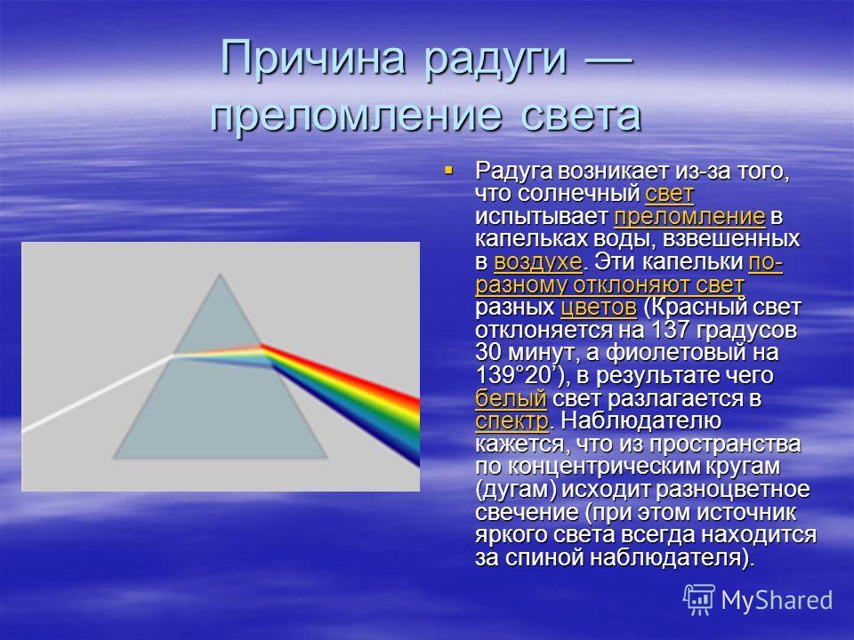 Причина радуги преломление света Радуга возникает из-за того, что солнечный свет испытывает преломление в капельках воды, взвешенных в воздухе. Эти капельки по- разному отклоняют свет разных цветов (Красный свет отклоняется на 137 градусов 30 минут,