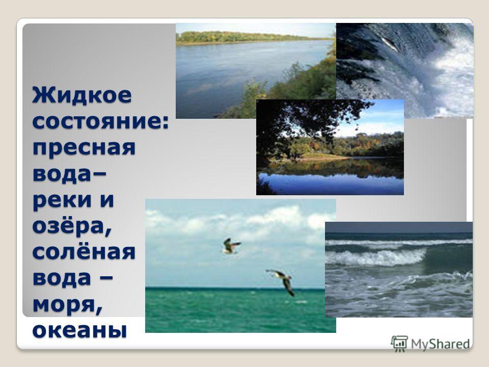 Жидкое состояние: пресная вода– реки и озёра, солёная вода – моря, океаны