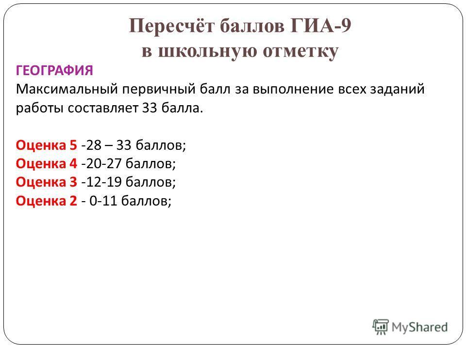 Пересчёт баллов ГИА-9 в школьную отметку ГЕОГРАФИЯ Максимальный первичный балл за выполнение всех заданий работы составляет 33 балла. Оценка 5 -28 – 33 баллов; Оценка 4 -20-27 баллов; Оценка 3 -12-19 баллов; Оценка 2 - 0-11 баллов;