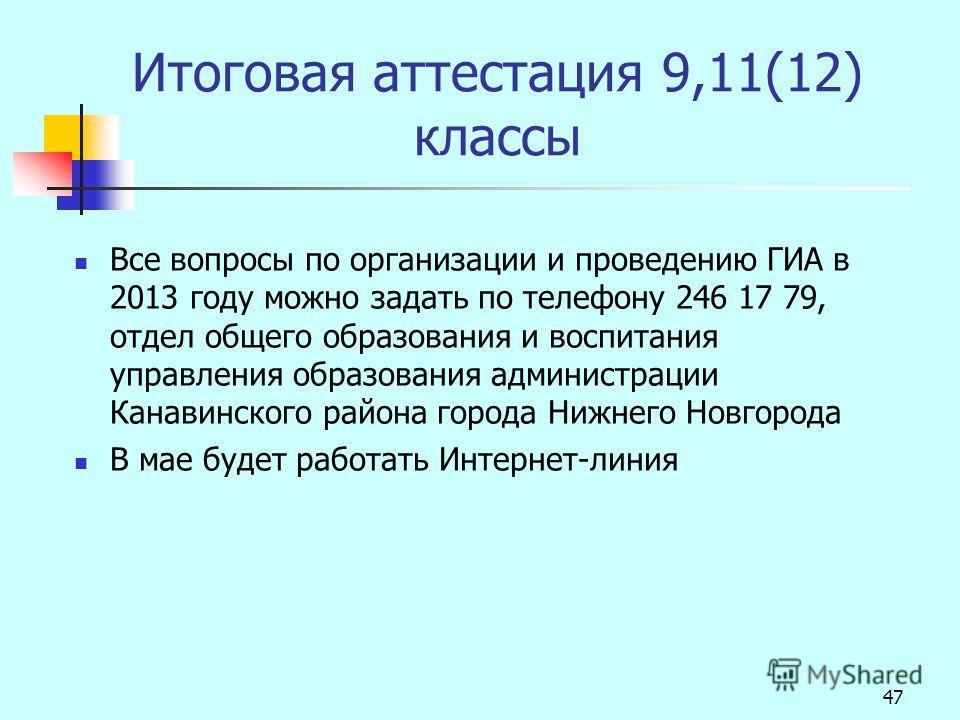 47 Итоговая аттестация 9,11(12) классы Все вопросы по организации и проведению ГИА в 2013 году можно задать по телефону 246 17 79, отдел общего образования и воспитания управления образования администрации Канавинского района города Нижнего Новгорода