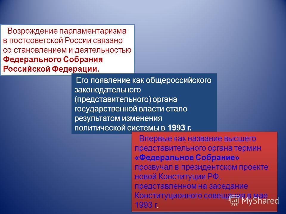 Возрождение парламентаризма в постсоветской России связано со становлением и деятельностью Федерального Собрания Российской Федерации. Его появление как общероссийского законодательного (представительного) органа государственной власти стало результа